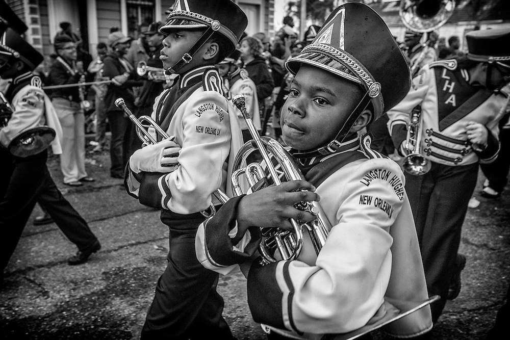 A young musician in the Langston Hughes Academy School marching band in the 'Zulu Parade' on Jackson Avenue, the first parade on the morning of Mardi Gras on February 12, 2013 in New Orleans, Louisiana.