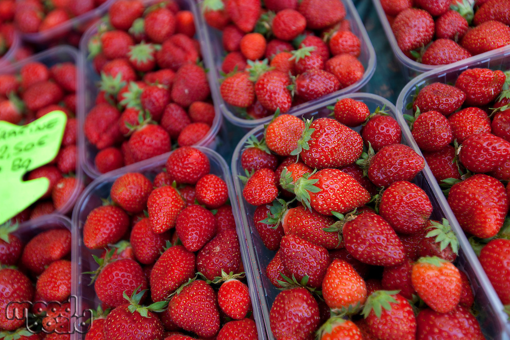 Close-up of fresh strawberries on display in store