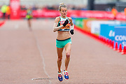 Tracey Barlow (Great Britain) approaching the finish line in the Virgin Money 2019 London Marathon, London, United Kingdom on 28 April 2019.