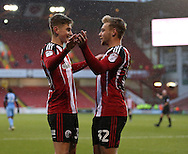 Harry Chapman of Sheffield Utd celebrates his first goal with David Brooks of Sheffield Utd during the Emirates FA Cup Round One match at Bramall Lane Stadium, Sheffield. Picture date: November 6th, 2016. Pic Simon Bellis/Sportimage