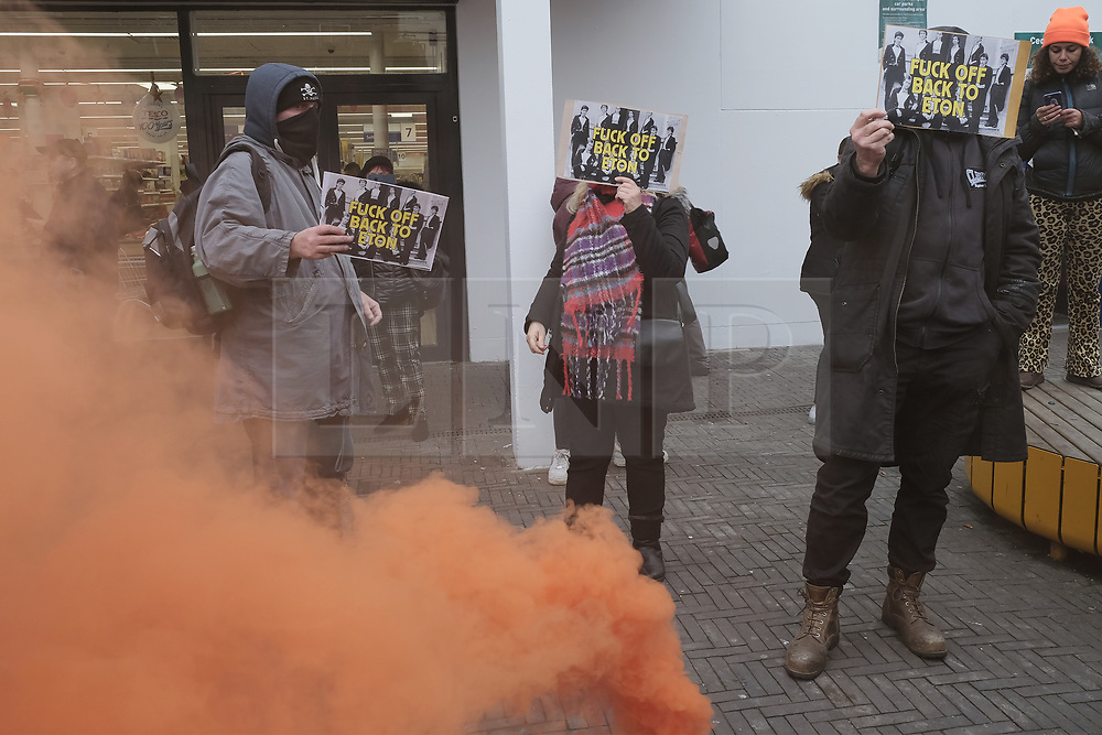 © Licensed to London News Pictures. 16/11/2019. London, UK. Protesters take part in a demonstration against British Prime Minister Boris Johnson in Uxbridge. The aims of the demonstration are to campaign against his government policies and to unseat Mr Johnson where he is an MP for the constituency of Uxbridge and South Ruislip. Photo credit: Ray Tang/LNP