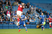 Nottingham Forest midfielder Henri Lansbury (10)  rises for the header during the EFL Sky Bet Championship match between Sheffield Wednesday and Nottingham Forest at Hillsborough, Sheffield, England on 24 September 2016. Photo by Simon Davies.