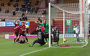 28th April 2018, Fir Park, Motherwell, Scotland; Scottish Premier League football, Motherwell versus Dundee; Genseric Kusunga of Dundee scores for 1-0