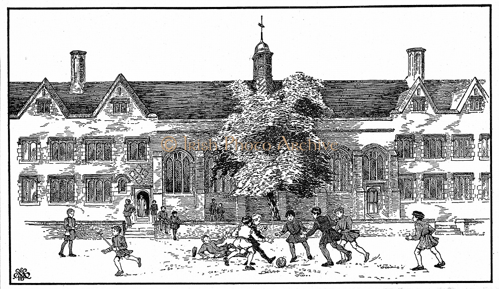 Artist's impression of boys in Tudor times playing football at Berkhamsted Grammar School, Hertfordshire.