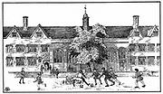 Artist's impression of boys in Tudor times playing football at Berkhamsted Grammar School, Hertfordshire.