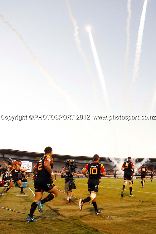 Fireworks to start the night off before kick off of their game at Baypark Stadium, Mt Maunganui, New Zealand. Friday,16 March 2012. Photo: Dion Mellow/photosport.co.nz