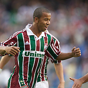 Mariano celebrates with team mate Julio Cesar (right) after scoring the first goal for Fluminense in their 3-0 win over Internacional during the  Futebol Brasileiro  Campeonato Brasileiro Serie-A 2010 League match at Maracana, the Jornalista Mário Filho Stadium, Rio de Janeiro,  Brazil. 15th August 2010. Photo Tim Clayton