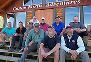 NORMAN WELLS, NWT. July 23, 2011.  <br /> EXCLUSIVE<br /> NORMAN WELLS, NWT. July 23, 2011. HRH Duke of York is shown immediately following a 12 day canoe trip on the Horton River in the Sahtu Region of the NWT  with old friends from Lakefield College School, their fifth trip together since 1977. He later officiated in the Celebrate Sahtu event in Norman Wells, NWT.  The canoe trip was organized by Canoe North Adventures, which is located in Norman Wells at the North-Wright Air float base where the celebration  was held. HRH is Patron of the Canadian Canoe Museum in Peterborough, ON and encourages Canadian to discover their wonderful northland. The Sahtu Region of the NWT is the site of his last two canoe trips. <br /> In this photo L-R : Donald Grant, Alex McCubbin, David Thompson, Geoff Heseltine. former Lakefield Headmaster Terry Guest, HRH The Duke of York, Hillary Abbott, Al Pace, Nick Lewis, Nick Dale.<br /> ©Michael Peake/Exclusivepix