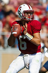 PALO ALTO, CA - OCTOBER 06: Quarterback Josh Nunes #6 of the Stanford Cardinal stands in the pocket against the Arizona Wildcats during the third quarter at Stanford Stadium on October 6, 2012 in Palo Alto, California. The Stanford Cardinal defeated the Arizona Wildcats 54-48 in overtime. (Photo by Jason O. Watson/Getty Images) *** Local Caption *** Josh Nunes
