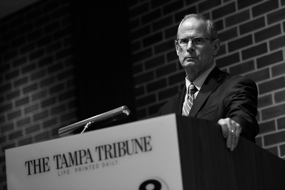 Paul Tash, Chairman and CEO of Tampa Bay Times, tells employees of The Tampa Tribune that the company has been purchased by the rival Tampa Bay Times Tuesday, May 3, 2016. CHRIS URSO/STAFF
