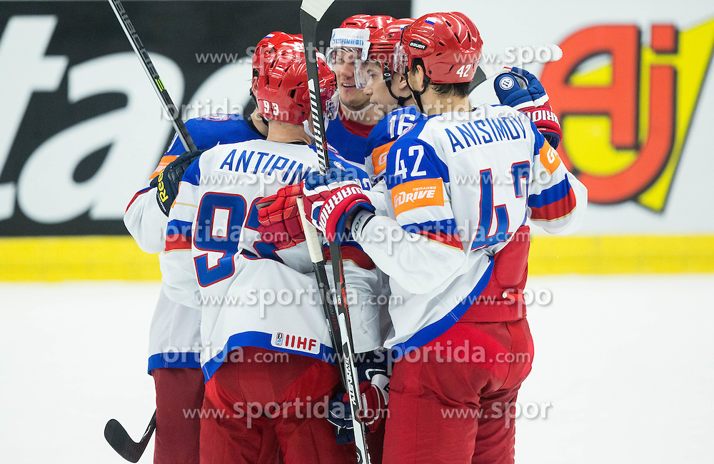 Players of Russia celebrate after scoring fourth goal during Ice Hockey match between Russia and Denmark at Day 6 in Group B of 2015 IIHF World Championship, on May 6, 2015 in CEZ Arena, Ostrava, Czech Republic. Photo by Vid Ponikvar / Sportida