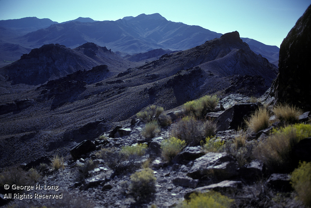 dark, rocky hill surface near Alabama Hills in California