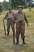 Living History event. Home Guard soldiers standing to attention.