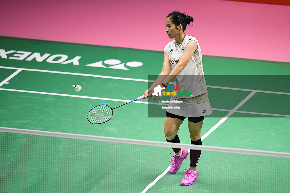 BANGKOK, THAILAND - MAY 25: Ratchanok Intanon of Thailand in action on Court 1 during her Semi-Finals match against Chen Yufei of China at the BWF Total Thomas and Uber Cup Finals 2018, Impact Arena , Bangkok, Thailand on May 25, 2018.<br /> .<br /> .<br /> .<br /> Photo by: Naratip Golf Srisupab/SEALs Sports Images<br /> <br /> .<br /> All photo must include a credit line adjacent to the content: Naratip Golf Srisupab/SEALs Sports Images