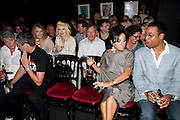 PAM HOGG; NANCY DELL D'OLIO; BEN DOUGLAS, Burnt Oak premiere of Laurence Lynch play detailing his life as a Soho plumber and close friend to artist Sebastian Horsley. Directed by Nathan Osgood and produced by Tartan Films founder Hamish McAlpine. Leicester Square Theatre, 6 Leicester Place, London, 2 August 2011.<br /> <br />  , -DO NOT ARCHIVE-© Copyright Photograph by Dafydd Jones. 248 Clapham Rd. London SW9 0PZ. Tel 0207 820 0771. www.dafjones.com.