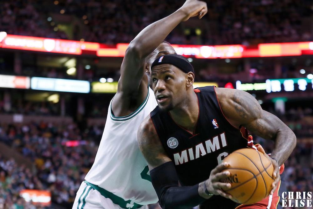 27 January 2013: Miami Heat small forward LeBron James (6) drives past Boston Celtics power forward Jeff Green (8) during the Boston Celtics 100-98  2OT victory over the Miami Heat at the TD Garden, Boston, Massachusetts, USA.