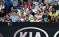 ALEXANDER ZVEREV Team in der Spielerloge,<br /> vorne links erste Reihe Physiotherapeut Hugo Gravil, dahinter im blauen Tshirt Arthur Kaziev,Fitness Trainer Jez Green, Trainer Juan-Carlos Ferrero,Vater Alexander Zverev,dahinter Manager Patricio Apey und Spieler im schwarzen Tshirt MARCELO MELO (BRA) und ganz recht ex BVB Fussballspieler  Patrick Owomoyela<br /> <br /> Tennis - Australian Open 2018 - Grand Slam / ATP / WTA -  Melbourne  Park - Melbourne - Victoria - Australia  - 18 January 2018.