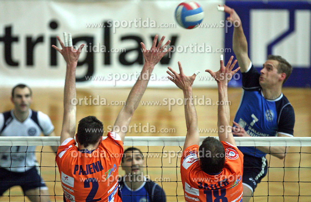 Block of Alen Pajenk and Rok Satler of ACH Volley vs Andrej Kovacic of Salonit at 4th and final match of Slovenian Voleyball  Championship  between OK Salonit Anhovo (Kanal) and ACH Volley (from Bled), on April 23, 2008, in Kanal, Slovenia. The match was won by ACH Volley (3:1) and it became Slovenian Championship Winner. (Photo by Vid Ponikvar / Sportal Images)/ Sportida)