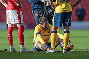 Jim O'Brien (Scunthorpe United) is down in the first few minutes of the second half, injured and not able to carry on during the Sky Bet League 1 match between Barnsley and Scunthorpe United at Oakwell, Barnsley, England on 25 March 2016. Photo by Mark P Doherty.