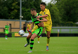 Tom Nichols of Bristol Rovers challenges for the ball - Mandatory by-line: Paul Roberts/JMP - 22/07/2017 - FOOTBALL - New Lawn Stadium - Nailsworth, England - Forest Green Rovers v Bristol Rovers - Pre-season friendly