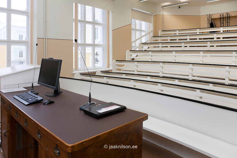Interior of lecture theatre with raked seating in Tartu University, Estonia