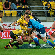 WELLINGTON, NEW ZEALAND - 22 JUNE: Action during the super rugby union Quarter Final game played between Hurricanes v Bulls played at Westpac Stadium , Wellington, New Zealand, on 22 June 2019. Final score 35-28 to the Hurricanes
