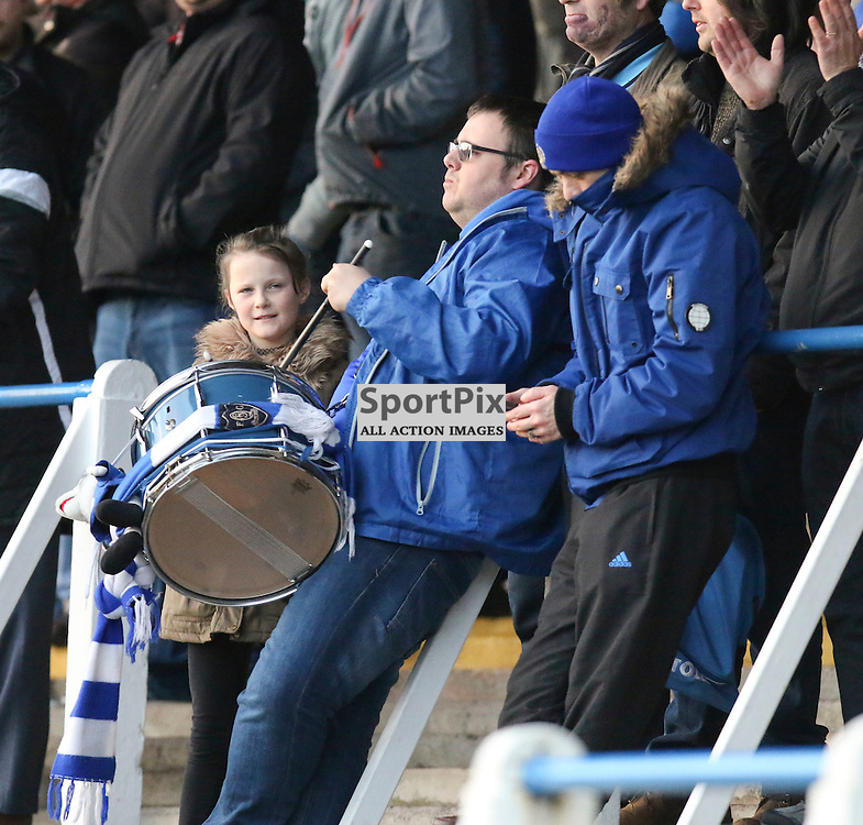 Queens fans tries to drum up a atmosphere during the Queen of the South v Dumbarton Scottish Championship 03 December2016 <br /> <br /> (c) Andy Scott | SportPix.org.uk