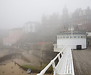 Foggy weather obscures the seafront at the seaside town of Cromer, north Norfolk coast, England