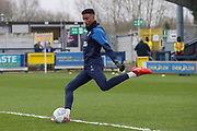 AFC Wimbledon goalkeeper Nathan Trott (1) warming up during the EFL Sky Bet League 1 match between AFC Wimbledon and Southend United at the Cherry Red Records Stadium, Kingston, England on 1 January 2020.