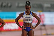 Dina Asher-Smith (Great Britain), at the start of the Women's 200 Metres during the 2019 IAAF World Athletics Championships at Khalifa International Stadium, Doha, Qatar on 2 October 2019.