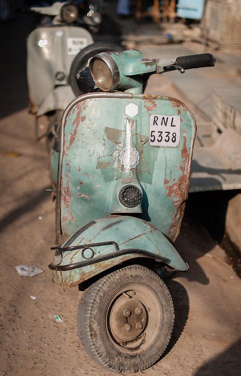 Old Vespa motorbike in India