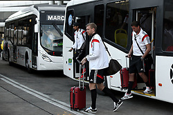 14.07.2014, Galeao Airport, Rio de Janeiro, BRA, FIFA WM, Weltmeister Deutschland, Heimreise, Finale, im Bild vl. Sami Khedira (GER), Per Mertesacker (GER) und Roman Weidenfeller (GER) steigen aus dem Bus // during the Return of the German Team after FIFA Worldcup Brazil 2014 at the Galeao Airport in Rio de Janeiro, Brazil on 2014/07/14. EXPA Pictures © 2014, PhotoCredit: EXPA/ Eibner-Pressefoto/ Cezaro<br /> <br /> *****ATTENTION - OUT of GER*****