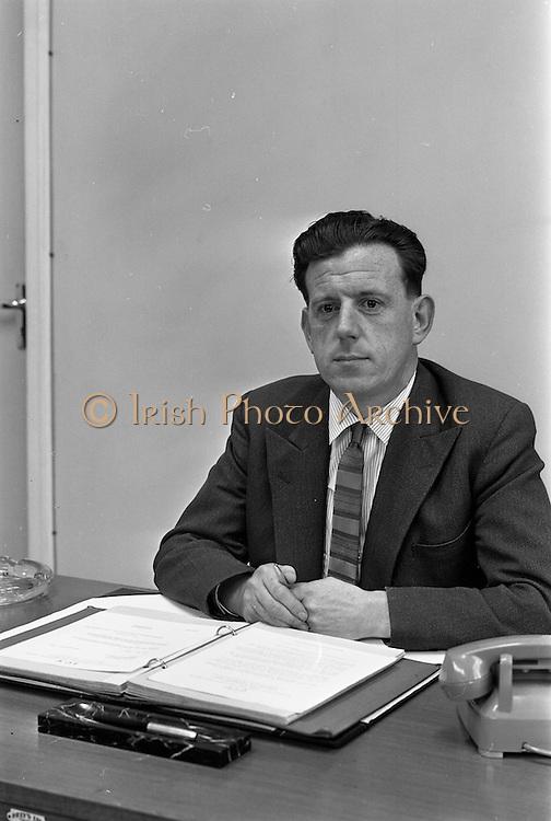 19/09/1963<br /> 09/19/1963<br /> 19 September 1963<br /> Mr. K.G. O'Brien, at his desk at I.C.T. Adelaide Road, Dublin.