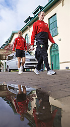 CARDIFF, WALES - Thursday, April 4, 2019: Wales' Gemma Evans (L) and goalkeeper Laura O'Sullivan during a pre-match team walk at the Vale Resort ahead of an International Friendly match between Wales and Czech Republic at Rodney Parade. (Pic by David Rawcliffe/Propaganda)
