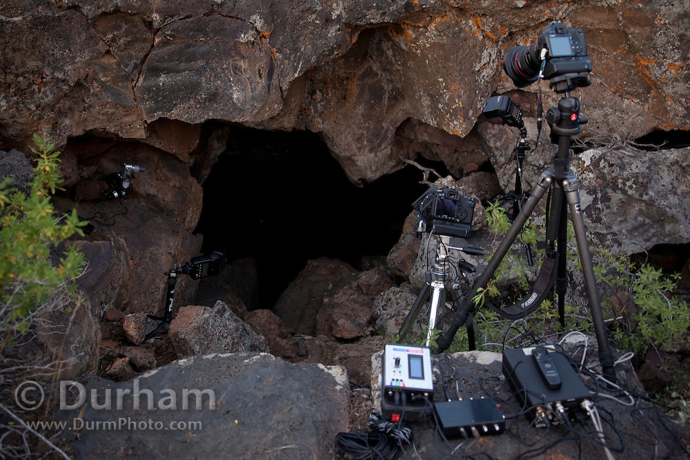 Michael Durham's high-speed camera set-up for photographing bats at Pond Cave in Craters Of The Moon National Monument in Idaho.