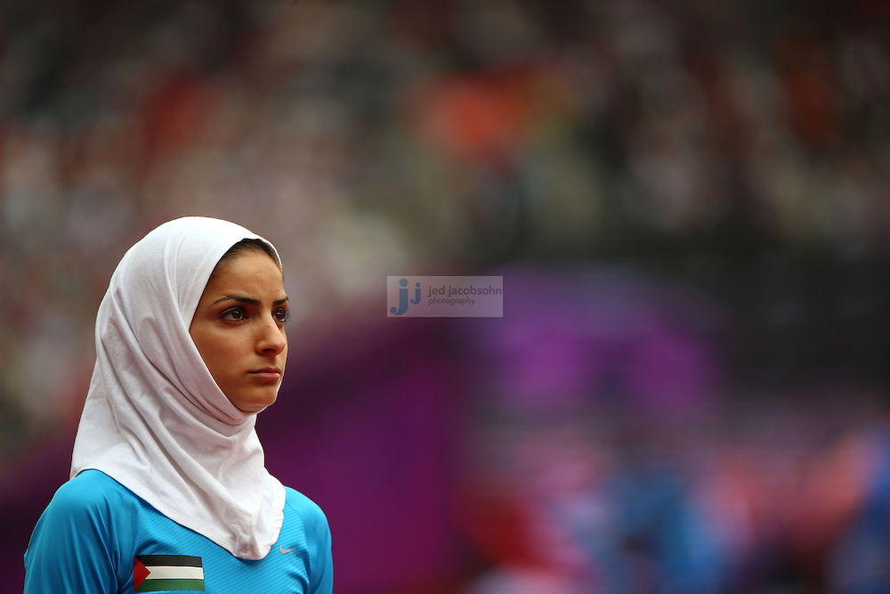 Woroud Sawalha of Palestine prepares to compete in an 800m heat during track and field at the Olympic Stadium during day 12 of the London Olympic Games in London, England, United Kingdom on August 8, 2012..(Jed Jacobsohn/for The New York Times)..
