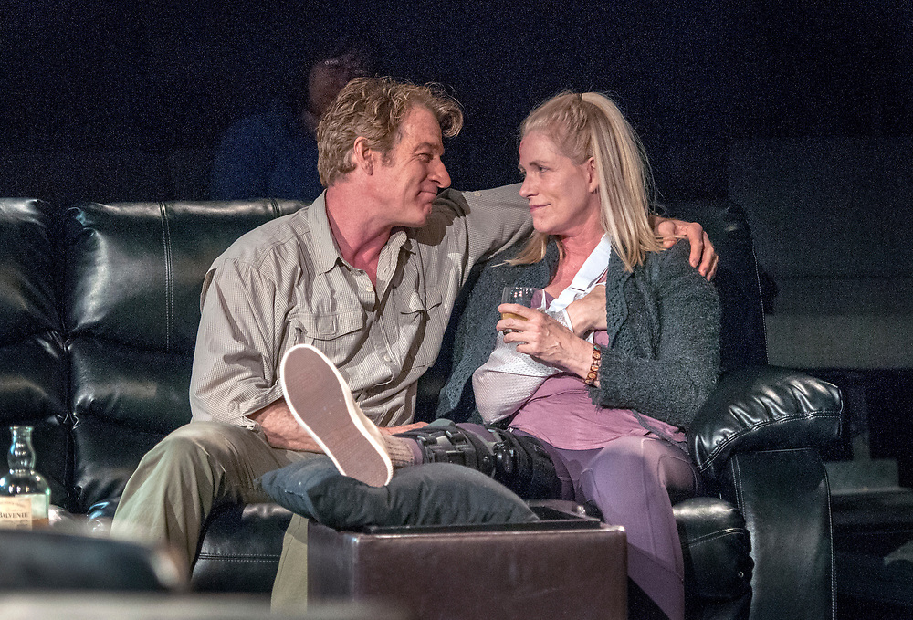 em051617h/jnorth/Kevin Kilner, playing James, and Maureen Joyce McKenna, as Sarah, rehearse the play Time Stands Still at the Adobe Rose Theater in Santa Fe, Tuesday May 16, 2017.  (Eddie Moore/Albuquerque Journal