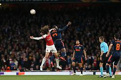Matteo Guendouzi of Arsenal and Rodrigo Moreno of Valencia go up for a header - Mandatory by-line: Arron Gent/JMP - 02/05/2019 - FOOTBALL - Emirates Stadium - London, England - Arsenal v Valencia - UEFA Europa League Semi-Final 1st Leg