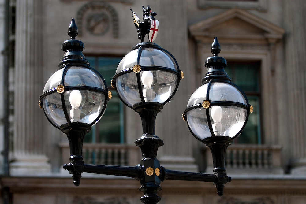 Old lights outside Royal Exchange, City of London, EC2