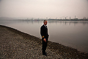 Srecko Nikolic on the Danube River in the Serbian city of Kladovo, across from the Romanian city of Drobeta-Turnu Severin...Matt Lutton for the Financial Times
