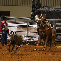 Libby Ezell | BUY AT PHOTOS.DJOURNAL.COM<br /> a competitor leaps off his horse during the Calf Roping event