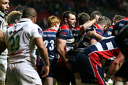 Luke Arscott of Bristol Rugby celebrates with tryscorer Chris Brooker - Rogan Thomson/JMP - 11/12/2016 - RUGBY UNION - Ashton Gate Stadium - Bristol, England - Bristol Rugby v Pau - European Rugby Challenge Cup.