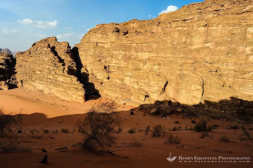 Jordan. Wadi Rum is also known as The Valley of the Moon. Bedouin camp in the gorge.