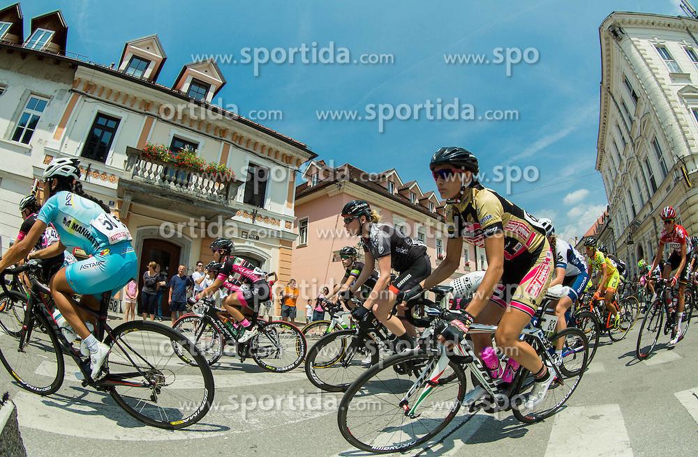 Makhabbat Umutzhanova (KAZ) of Astana and Elena Kuchinskaya (RUS) of Servetto Footon during the Stage 1 (102,5 km) from Kamnik to Ljubljana at 26th Giro Rosa 2015 Women cycling race, on July 4, 2015 in Kamnik,  Slovenia. Photo by Vid Ponikvar / Sportida