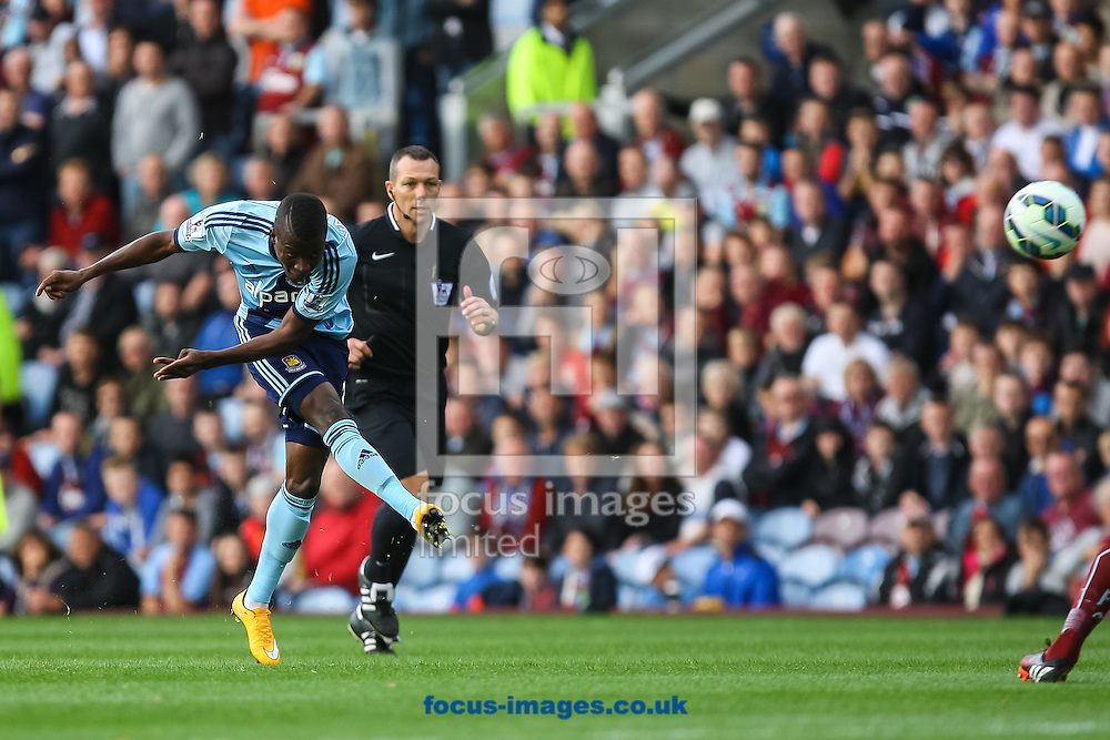Enner Valencia of West Ham United has a shot on goal during the Barclays Premier League match at Turf Moor, Burnley<br /> Picture by Daniel Chesterton/Focus Images Ltd +44 7966 018899<br /> 18/10/2014