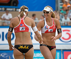 28.07.2015, Strandbad, Klagenfurt, AUT, A1 Beachvolleyball EM 2015, im Bild Barbara Hansel AUT / Stefanie Schwaiger AUT // during the A1 Beachvolleyball European Championship at the Strandbad Klagenfurt, Austria on 2015/07/28. EXPA Pictures © 2015, EXPA Pictures © 2015, PhotoCredit: EXPA/ Mag. Gert Steinthaler