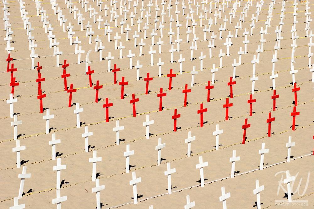 Arlington West Memorial Crosses on Beach, Santa Monica, California