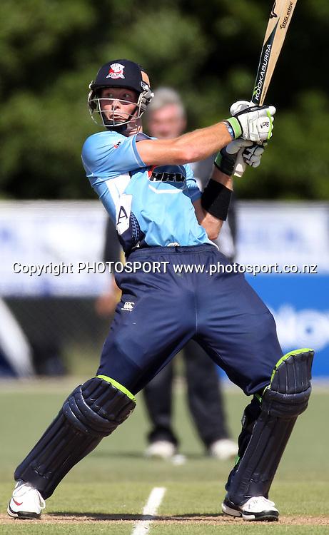 Auckland batsman Martin Guptill batting. Twenty20 Cricket, Auckland Aces v Pakistan, Colin Maiden Park, Auckland. Thursday 23 December 2010.Photo: Andrew Cornaga/photosport.co.nz