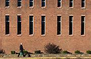 A pedestrian walks beside Alden Library on Ohio University's Athens campus on November 12, 2016.