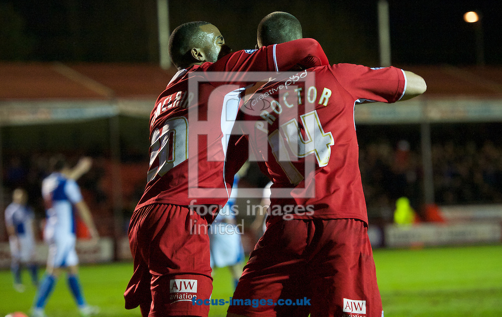Picture by Alan Stanford/Focus Images Ltd +44 7915 056117<br /> 08/01/2014<br /> Jamie Proctor of Crawley Town celebrates scoring the opening goal with Emile Sinclair during the The FA Cup match at Broadfield Stadium, Crawley.